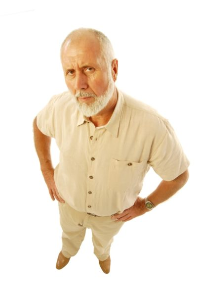 Angry-looking older man